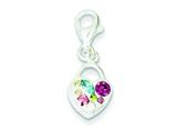 Sterling Silver Multi-stellux Crystal Heart Lobster Charm style: QP2533