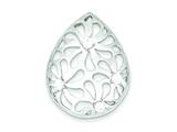 Sterling Silver Cubic Zirconia Tear-shape Flower Pendant - Chain Included style: QP2557