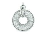 Sterling Silver Rhodium Plated Wire Wrap Circle Pendant - Chain Included style: QP2576