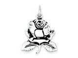 Sterling Silver Antiqued Rose Charm style: QP2581