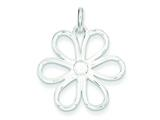 Sterling Silver Cubic Zirconia Flower Pendant - Chain Included style: QP2589