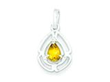 Sterling Silver Polished Citrine And Cubic Zirconia Pendant - Chain Included style: QP2603