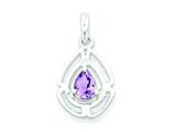 Sterling Silver Polished Amethyst And Cubic Zirconia Pendant - Chain Included style: QP2605