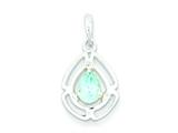 Sterling Silver Polished Blue Topaz And Cubic Zirconia Pendant - Chain Included style: QP2606