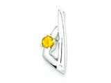 Sterling Silver Polished Citrine Pendant - Chain Included style: QP2607