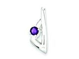 Sterling Silver Polished Amethyst Pendant - Chain Included style: QP2609