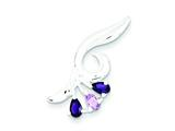 Sterling Silver Polished Amethyst Pendant - Chain Included style: QP2611