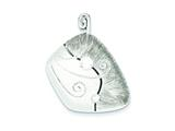 Sterling Silver Cubic Zirconia and Matte Curl Pendant - Chain Included style: QP2622
