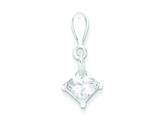 Sterling Silver Cubic Zirconia Diamond Shape Pendant - Chain Included style: QP2633