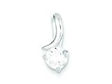 Sterling Silver Cubic Zirconia Slide Pendant - Chain Included style: QP2636