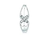 Sterling Silver Cubic Zirconia X Pendant - Chain Included style: QP2657