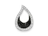 Sterling Silver Cubic Zirconia Black and Clear Teardrop Pendant - Chain Included style: QP2662