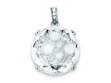 Sterling Silver Cubic Zirconia Round Pendant - Chain Included style: QP2681