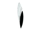 Sterling Silver Cubic Zirconia Matte Marquise Onyx Pendant - Chain Included style: QP2697