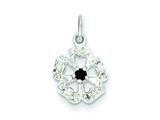 Sterling Silver Cubic Zirconia And Black Zircon Flower Pendant - Chain Included style: QP2699