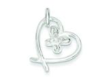 Sterling Silver Cubic Zirconia Butterfly In Heart Pendant Slide - Chain Included style: QP2708