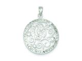 Sterling Silver Cubic Zirconia Circle With Swirls Pendant - Chain Included style: QP2714