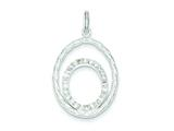 Sterling Silver Cubic Zirconia Twisted Oval Pendant - Chain Included style: QP2718