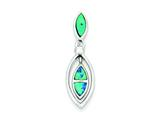 Sterling Silver Cubic Zirconia Blue Inlay Created Opal Marquise Pendant - Chain Included style: QP2742