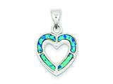 Sterling Silver Cubic Zirconia Blue Inlay Created Opal Heart Pendant - Chain Included style: QP2744