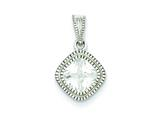 Sterling Silver Cubic Zirconia Square S Border Pendant - Chain Included style: QP2758