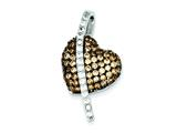 "Sterling Silver Cubic Zirconia Black Rhodium, Clear, Champagne Heart Pendant"" - Chain Included style: QP2762"
