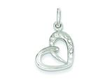 Sterling Silver Cubic Zirconia Heart Pendant - Chain Included style: QP2764