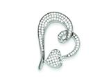 Sterling Silver Small And Large Micro Pave Heart Pendant - Chain Included style: QP2765