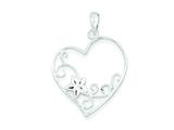 Sterling Silver Flower Heart Pendant - Chain Included style: QP2794