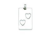 Sterling Silver Polished Rectangle With Cut-out Hearts Pendant - Chain Included style: QP2809