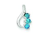 Sterling Silver Blue Topaz Slide Pendant Necklace - Chain Included style: QP2818