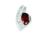 Sterling Silver Red And Clear Cubic Zirconia Slide Pendant - Chain Included style: QP2826