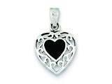 Sterling Silver Onyx Heart Antiqued Pendant - Chain Included style: QP2830