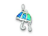 Sterling Silver Cubic Zirconia Blue Inlay Created Opal Umbrella Teardrop Pendant - Chain Included style: QP2834