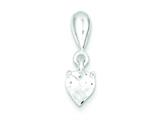 Sterling Silver Cubic Zirconia Heart Pendant - Chain Included style: QP2839