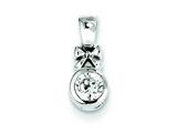 Sterling Silver Bow W/ Cubic Zirconia Circle Pendant - Chain Included style: QP2875