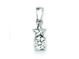 Sterling Silver Star Cubic Zirconia Pendant - Chain Included style: QP2876