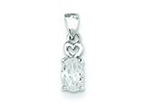 Sterling Silver Heart W/ Oval Cubic Zirconia Pendant - Chain Included style: QP2877