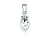 Sterling Silver Bow W/ Cubic Zirconia Heart Pendant - Chain Included style: QP2878