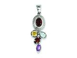 Sterling Silver Garnet Blue Topaz Citrine And Amethyst Pendant - Chain Included style: QP2889
