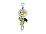 Sterling Silver Citrine Garnet Blue Topaz And Peridot Pendant - Chain Included style: QP2892