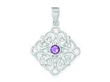 Sterling Silver Amethyst Pendant - Chain Included style: QP297