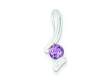 Sterling Silver Amethyst Pendant - Chain Included style: QP302