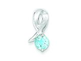 Sterling Silver Blue Topaz Pendant - Chain Included style: QP303