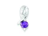 Sterling Silver Amethyst Pendant - Chain Included style: QP304