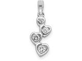Sterling Silver Graduated Cubic Zirconia Heart Pendant - Chain Included style: QP311