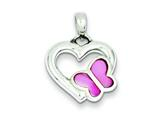 Sterling Silver Heart With Pink Shell Butterfly Pendant - Chain Included style: QP534