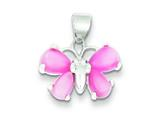 Sterling Silver Pink Shell Butterfly Pendant - Chain Included style: QP539