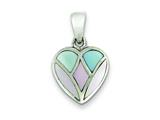 Sterling Silver Pink Blue And White Shell Heart Pendant - Chain Included style: QP582