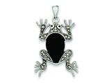 Sterling Silver Marcasite and Onyx Frog Pendant - Chain Included style: QP591